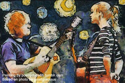 Impressionist painting of Taylor Swift and Ed Sheeran performing Everything Has Changed